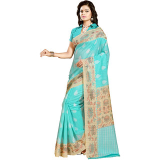 Gerbera Designer Amazing Bhagalpuri Silk Sky Blue and Bei Designer Printed Saree