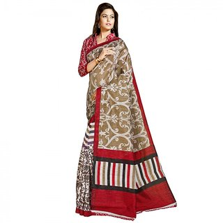 Gerbera Designer Amazing Bhagalpuri Silk Beige and Red Designer Printed Saree