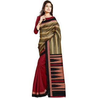 Gerbera Designer Amazing Bhagalpuri Silk Red and Green Designer Printed Saree