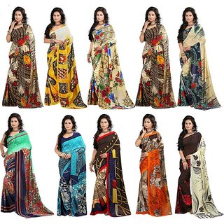 Stylobby Multicolor Brocade Floral Print Saree With Blouse (Combo of 10)