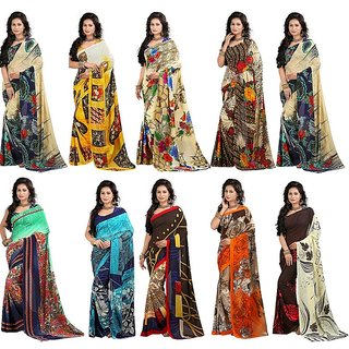 Stylobby Multicolor Brocade Floral Print Saree With Blouse (Pack of 10)