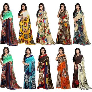Stylobby Floral Print Saree Combo Of 10