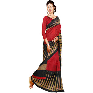 Gerbera Designer Amazing Bhagalpuri Silk Red and Black Designer Printed Saree