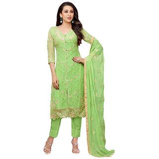 N Fashions Karishma Kapoor Green Faux Georgette Semi Stitched Dress Material