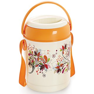 Cello Mark Insulated Lunch Carrier with 4 Container, Orange