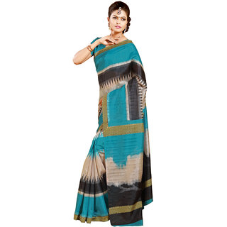 Gerbera Designer Amazing Bhagalpuri Silk Blue and Black Designer Printed Saree