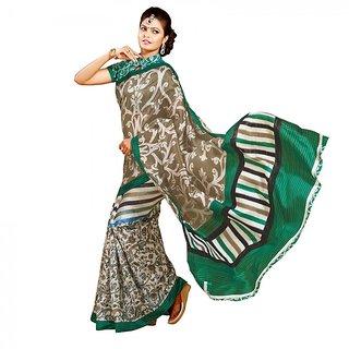 Gerbera Designer Amazing Bhagalpuri Silk Green and Beige Designer Printed Saree