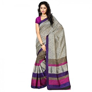 Gerbera Designer Amazing Bhagalpuri Silk Grey and Purple Designer Printed Saree