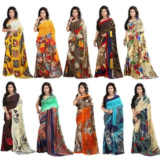 Stylobby Multicolor Georgette Floral Print Saree With Blouse (Combo of 10)