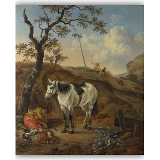 Vitalwalls A White Horse Standing Canvas Art Print On Pure Wooden Frame (Animal-072-F-45cm)