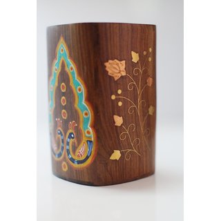 Wooden Madhubani Pen Stand