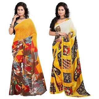 Stylobby Floral Print Saree Combo Of 2Sty-4-5