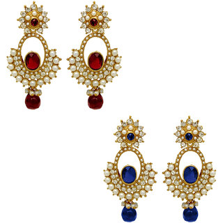 Donna Combo Of Red And Blue Gold Plated Two Pair Of Earrings (CO1104356G)