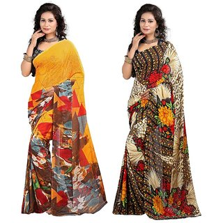 Stylobby Floral Print Saree Pack Of 2 Sty-4-7