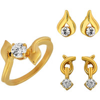 Mahi Combo Of Shimmering Gold Plated Finger Ring And Two Pairs Of Ear Studs (CO1104339G)