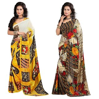 Stylobby Floral Print Saree Combo Of 2 Sty-5-7