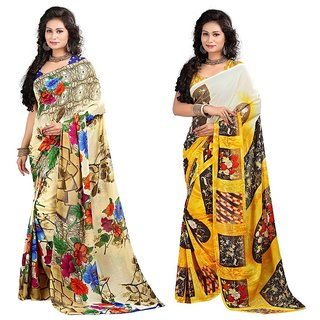 Stylobby Floral Print Saree Combo Of 2 Sty-6-5