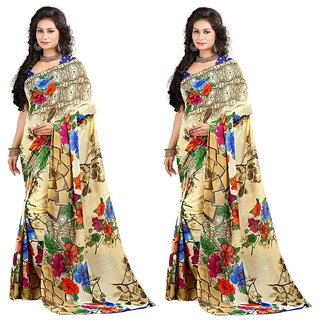 Stylobby Floral Print Saree Combo Of 2 Sty-6-6