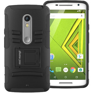 Cool Mango Moto X Play Tru Armor Shock Proof Cover  Dual Protection Case for Moto X Play   Black