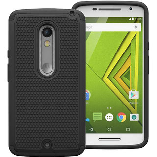 Cool Mango Moto X Play Armor Cover  Dual Layer Shock Proof Case for Moto X Play   Black