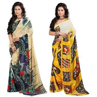 Stylobby Floral Print Saree Combo Of 2 Sty-8-5