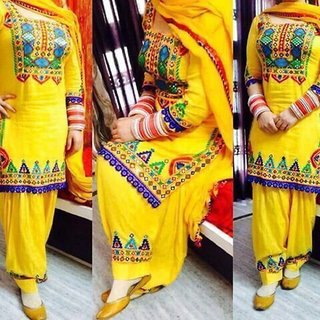 Shivam New Designer Yellow Anarkali Salwar Suit Semi Stitched Dress Material