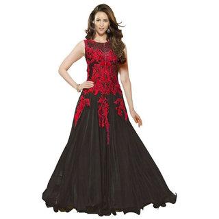 Bollywood Designer New Black Anarkali Salwar Suit Semi Stitched Dress Material