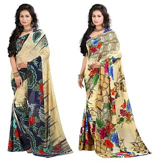 Stylobby Floral Print Saree Combo Of 2 Sty-8-6