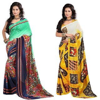 Stylobby Floral Print Saree Combo Of 2 Sty-9-5