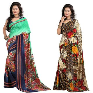 Stylobby Floral Print Saree Combo Of 2 Sty-9-7
