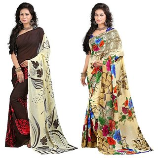 Stylobby Red Georgette Floral Print Saree With Blouse (Combo of 2)