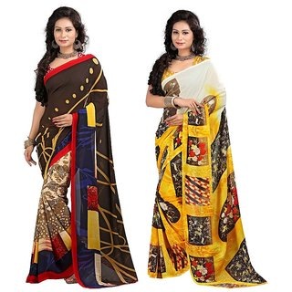 Stylobby Floral Print Saree Combo Of 2 Sty-11-5