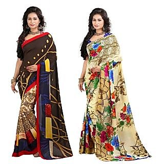 Stylobby Floral Print Saree Pack Of 2 Sty-11-6