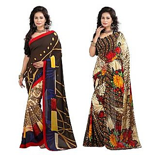 Stylobby Floral Print Saree Combo Of 2 Sty-11-7