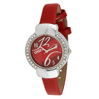 Oura Analog Red Dial Womens  Watch- Lrsst-68 Hot