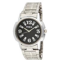 Oura Round Dial Silver Metal Strap Quartz Watch For Men