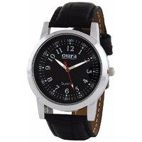 Oura Round Dial Black Leather Strap Mens Quartz Watch