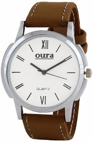 Oura Round Dial Brown Synthetic Strap Quartz Watch For Men