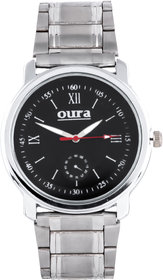 Oura Round Dial Silver Metal Strap Quartz Watch For Men