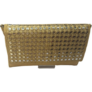 Aarna Accessories Gold Color Clutch
