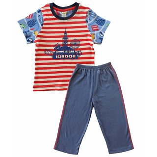 Boys Cuff Pyjama Set - 3Y - Red, Ecru  Navy - by Tiny Bee
