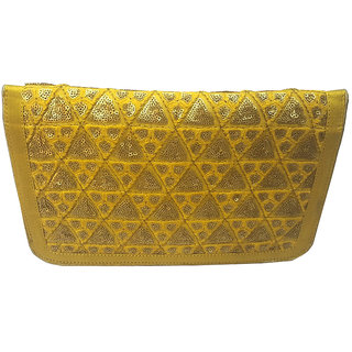 Aarna Accessories Yellow Color Clutch