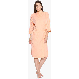 Sand Dune Waffle Ladies Bathrobe Peach