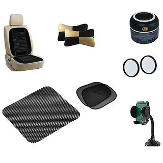 Takecare Combo (Neck Rest +Ash Trey +Non Slip Pad +Mobile Holder +3R Round Mirror +Back Rest+Sunshade) For Hyundai Santro Xing