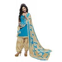 Miraan Sky Blue And Beige Cotton Plain Salwar Suit Dress Material (Unstitched)