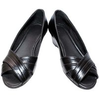 Richiee Black Imported Faux Leather Wedges Ballerinas