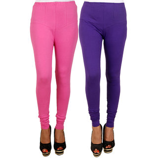 PRO Lapes Cotton Purple-Magenta Leggings Set of 2