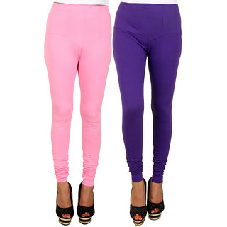 PRO Lapes Cotton Purple-Carnation pink Leggings Set of 2