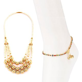 3 string pearl necklace and anklet combo by GoldNera