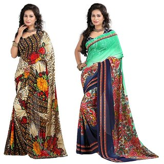 Stylobby Floral Print Saree Combo Of 2Sty7-9